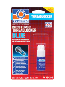 PERMATEX-#24206 THREADLOCKER BLUE MEDIUM STRENGTH (2.5ML)